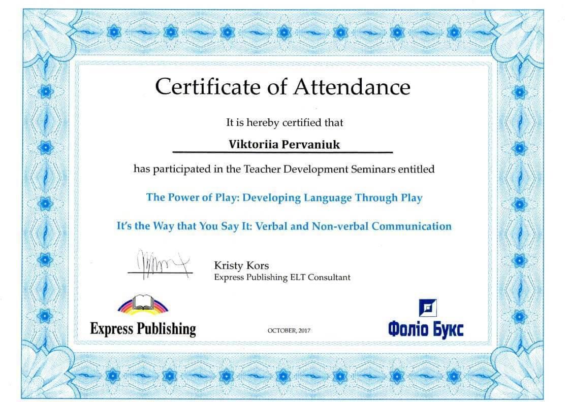 Express Publishing Certificate