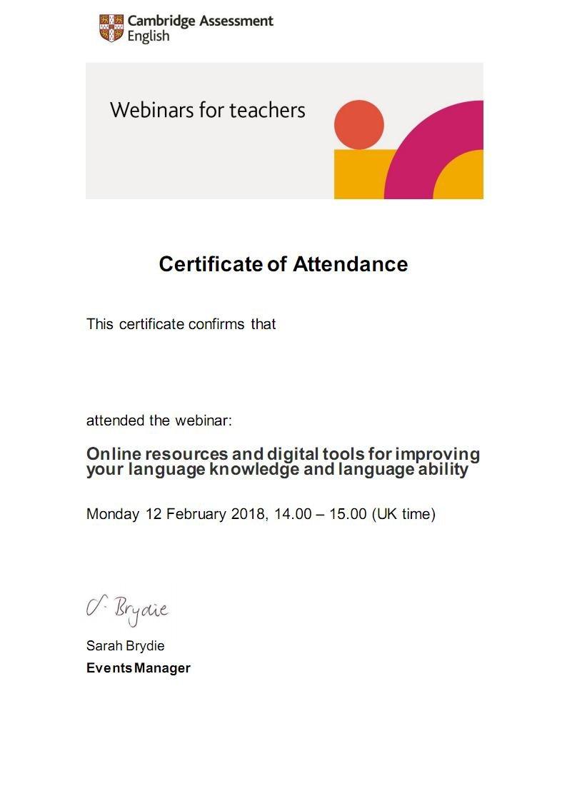 Cambridge English Webinars for Teachers Certificate