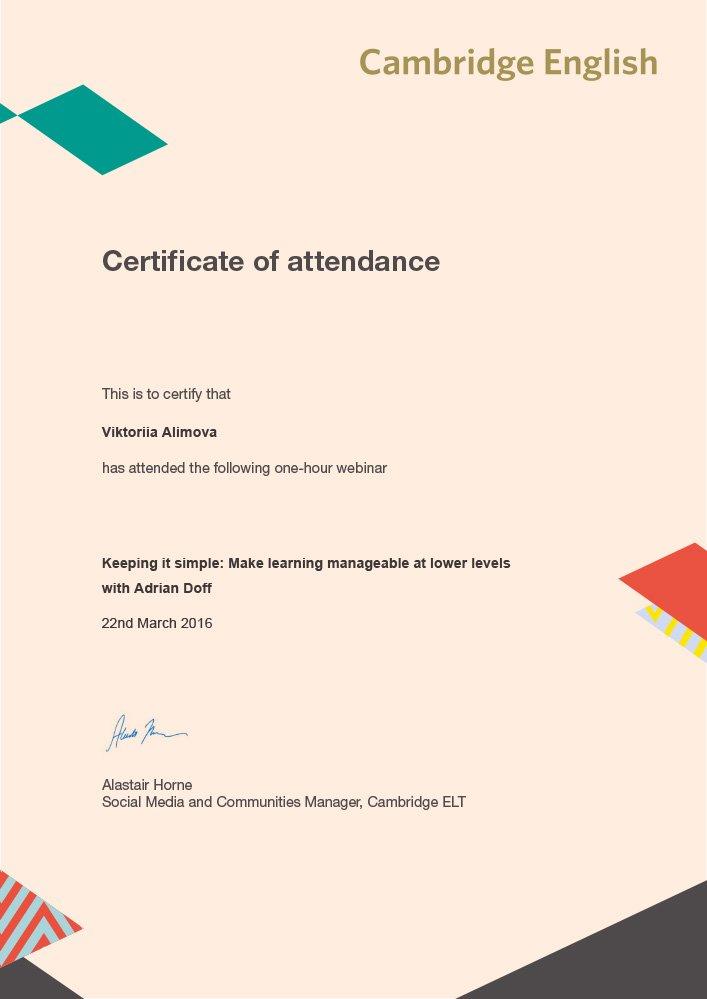 Cambridge English Teacher Certificate of Attendance