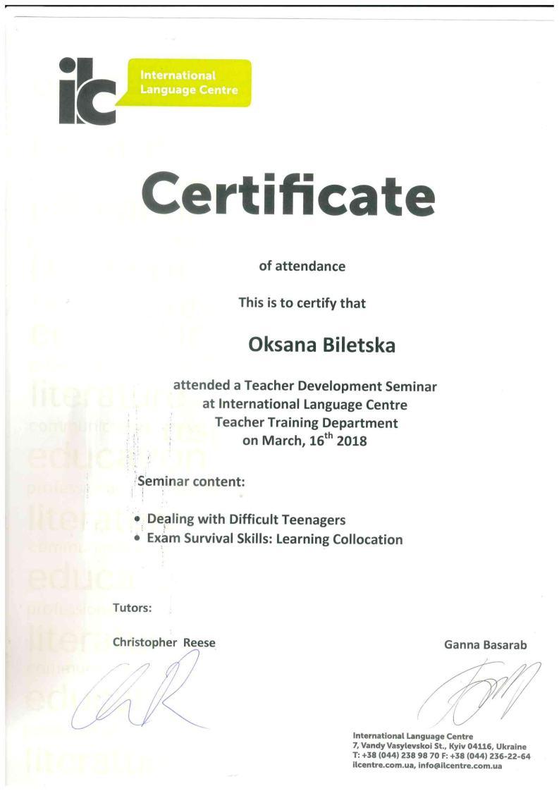 International Language Centre Certificate