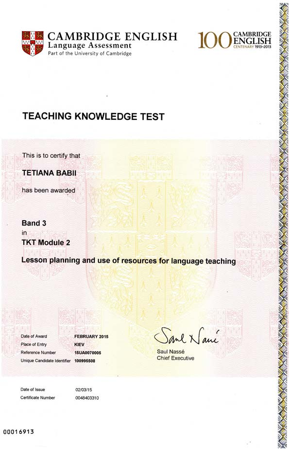 Teaching Knowledge Test (TKT)