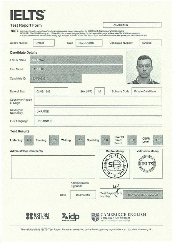 International Language Testing System (IELTS) Certificate