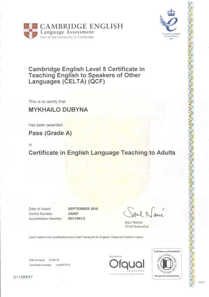 Certificate in English Language Teaching to Adults (CELTA)
