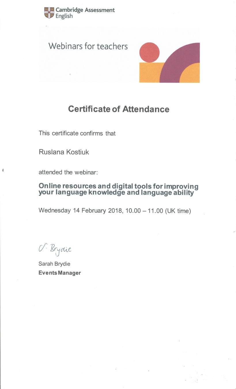 Cambridge Assessment English Webinar Certificate