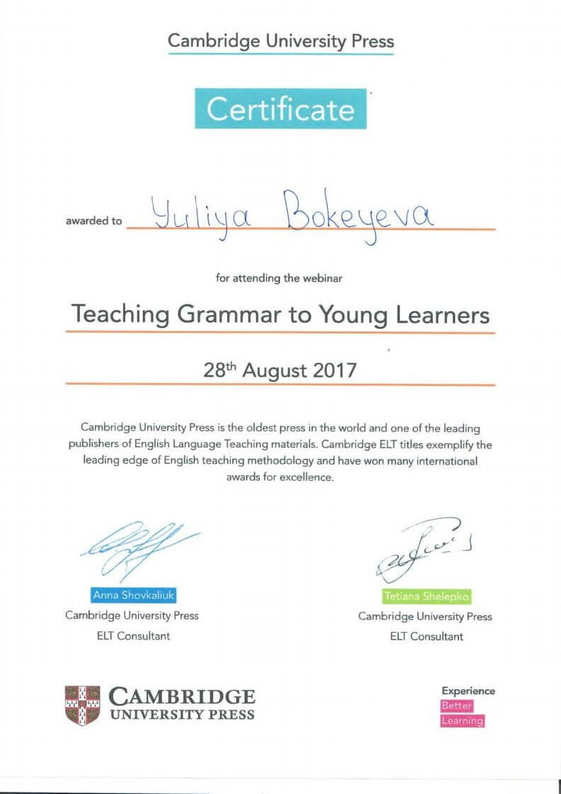 Cambridge University Press Certificate