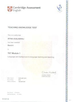 avalishvili tkt module 1 certificate